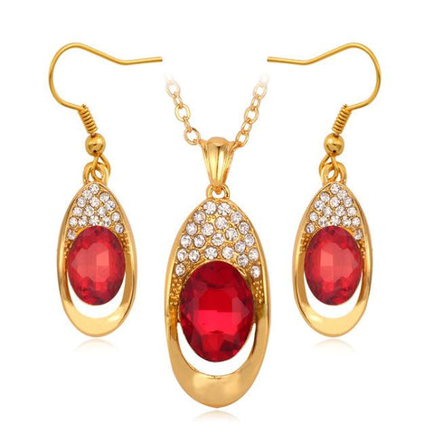 HIGH QUALITY 18K GOLD PLATED COLORED CRYSTAL JEWELRY SET