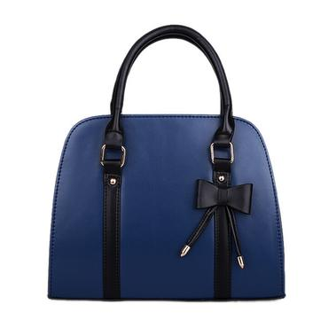 Faux Leather Tote with Bow Handbag
