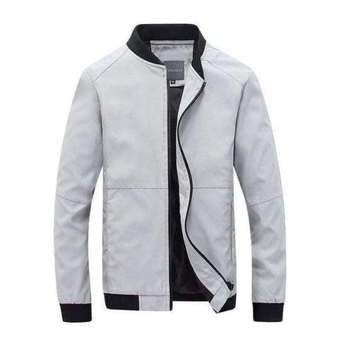 Mens Spring Jacket Stand Collar With Rib Sleeves