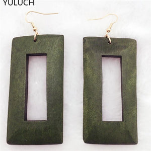 SQUARE WOODEN EARRINGS