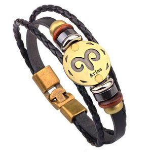 Zodiac Signs 12 Constellations Leather Bracelets