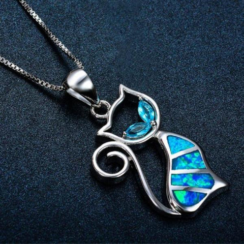 Silver And Opal Kitty Necklace