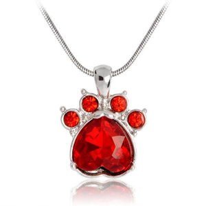 Kitty Paw Birthstone Necklace