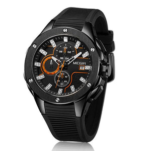 MEGIR 2053 Men Sport Watch Chronograph Silicone Strap