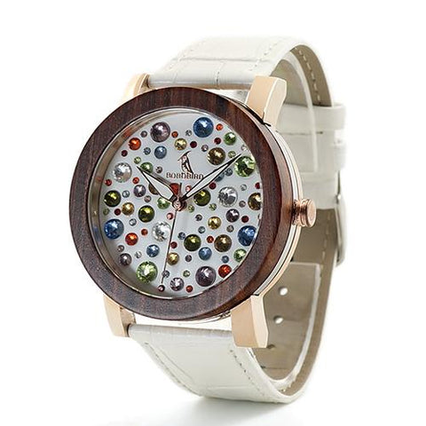 Wooden Watch Encrusted with Gems