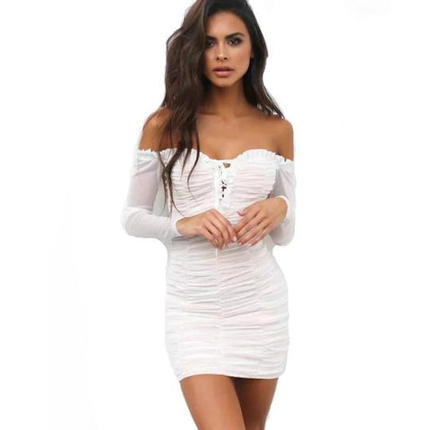 Off - Shoulder Laced - Up Mini Dress