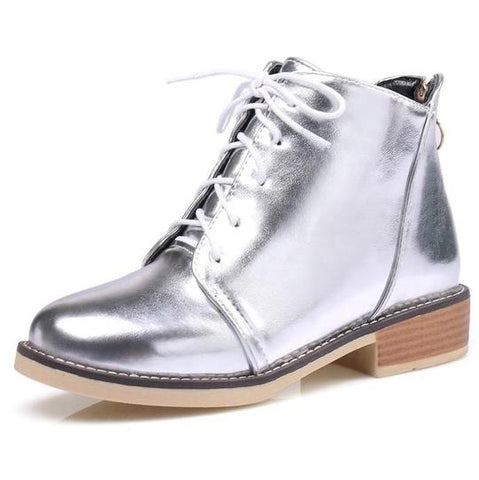 Metallic Silver Lace Up Boots