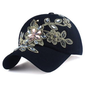 Baseball Cap With Flower Canvas Snapback Caps for women