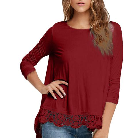 LONG SLEEVE LACE LOOSE BLOUSE | 9THWAVEAPPAREL