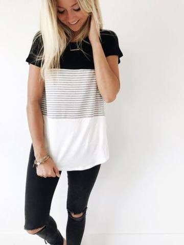 CONTRAST STRIPE SHORT SLEEVE TOP
