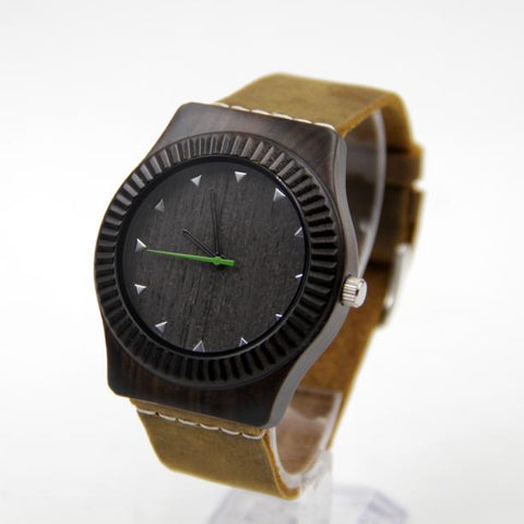 Men's Stylish and Unique Quartz Minimalist Bamboo Watch with PU Leather Band