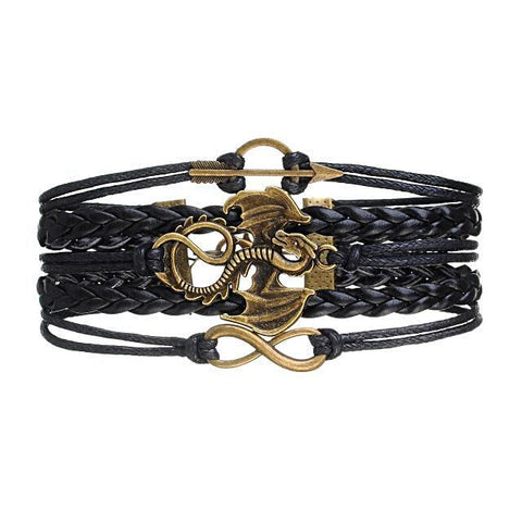 Dragon Arrow Rope Wrap Multilayer Leather Braided Bracelet