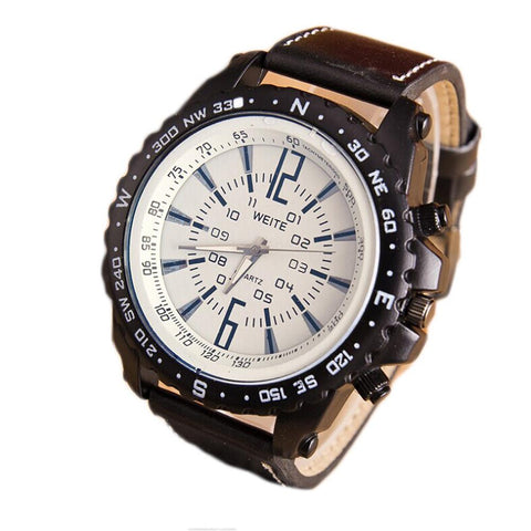 Men's Quartz Rugged Sport Watch with Faux Leather Band