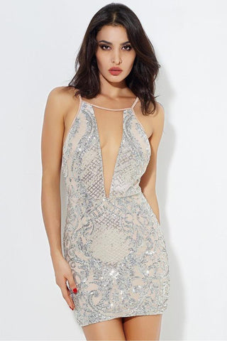 SILVER OPEN BACK SEQUINS MESH STITCHED MINI DRESS