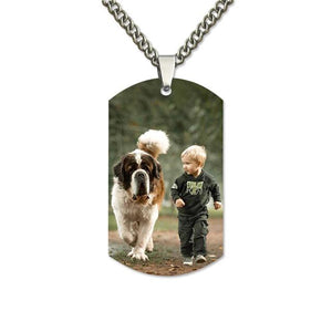 Personalized Color Photo Stainless Steel Necklace Engraved Pendant