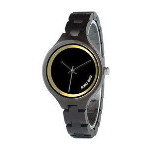 Wooden Band Slant Inlay Quartz Watches
