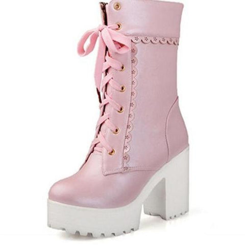 Lolita Pink Lace Up Boots