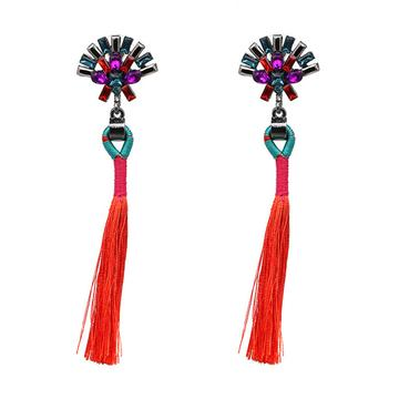 RED SYLVIE - NEW TRENDY ETHNIC BOHEMIA TASSEL EARRINGS