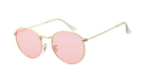 RSSELDN Brand Designer Women Round Sunglasses Men Fashion Vintage Metal Frame Ocean Sun Glasses Shade Pink Tinted Eyewear UV400