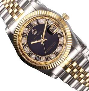 YELLOW GOLD PEARL DIAMOND DIAL STAINLESS STEEL LUMINOUS WATCH