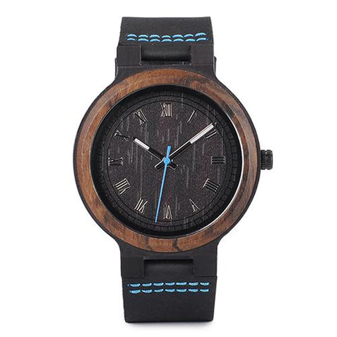 STYLISH WATCH IN A CASE OF WOOD AND WITH A LEATHER STRAP, MODEL 2018