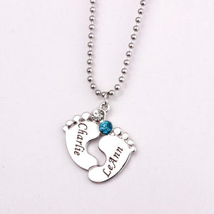 Personalized Engraved Birthstones Baby Feet Pendant Necklace