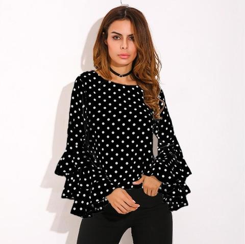 POLKA DOT LONG SLEEVE LOOSE CHIFFON BLOUSE | 9THWAVEAPPAREL