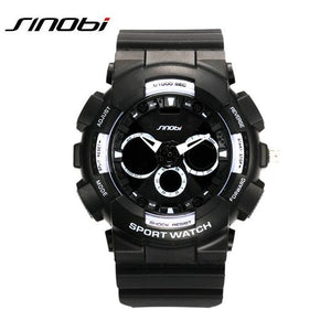 Men's Top Minimalist Style SINOBI Waterproof Rugged Dual Display Sport Watch with Silicone Band