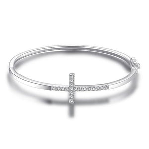 Cross Bangle Bracelet 925 Sterling Silver