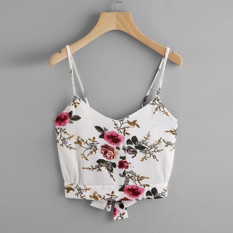 Women's Self Tie Back V Neck Floral Print Crop Cami Top Camisole Blouse