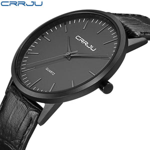 Men's Minimalist Blackout Style Top Brand Waterproof CRRJU Watch with Casual PU Leather Wrist Band