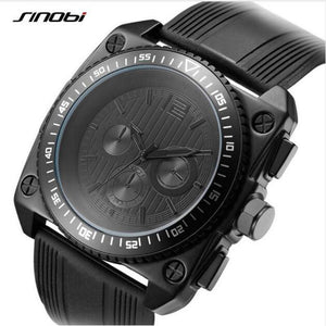 SINOBI Men's Black Fashion Waterproof Chronograph Sport Watch with Silicone and a Leather Wrist Band-Shock Resistant