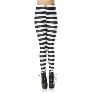 Black and White Horizontal Stripe Pattern Printed Leggings