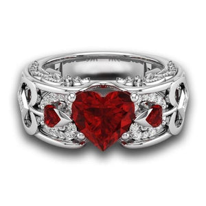 BIRTHSTONE HEART SHAPED ENGAGEMENT RING