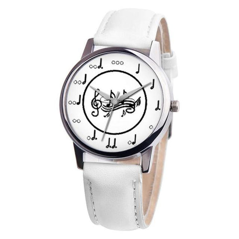 Unisex Musical Note Leather Band Analog Watch