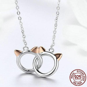 925 Sterling Silver Cat Ears Necklace