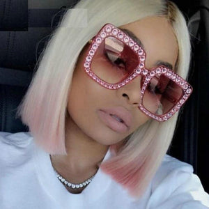 LNRRABC Brand Fashion Women Sunglasses Full Rhinestones Oversized Shades Plastic Square Frame