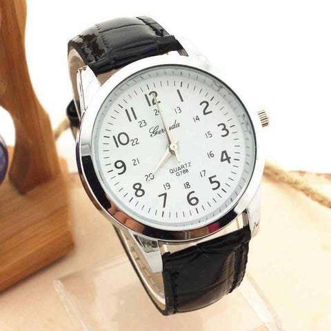 Mens Analog Luxury Sports PU Leather Strap Watch