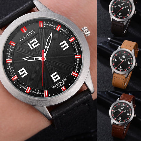 Male Fashion Pattern Quartz Watch Leather Strap Belt Table Watches