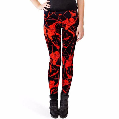 Red Spiderman on Black Printed Leggings