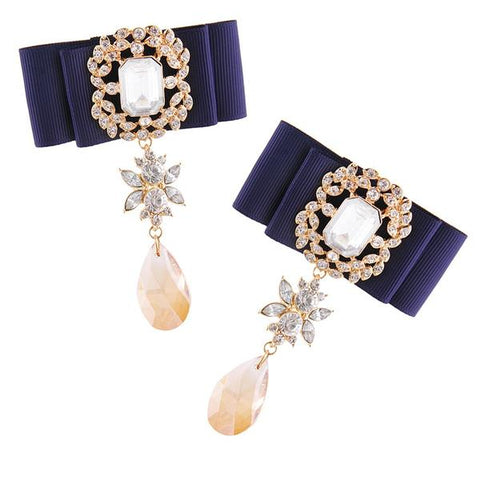Navy Ribbon Rhinestones Drop Earrings