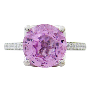 BLOSSOM ENGAGEMENT RING IN PLATINUM WITH PINK SAPPHIRE