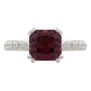 BELCOURT ENGAGEMENT RING IN WHITE GOLD WITH RHODOLITE GARNET