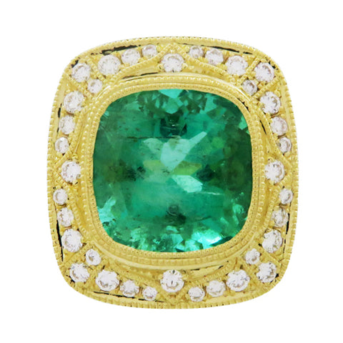 ANNIA RING IN YELLOW GOLD WITH EMERALD & DIAMONDS