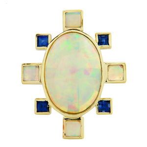 AZULEJO RING IN YELLOW GOLD & STERLING SILVER WITH OPAL & BLUE SAPPHIRE