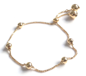 Adjustable Bolo bracelet gold ball toggle slide chain