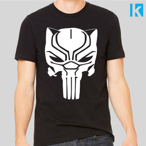 Black Panther Punisher Skull Unisex Mens T-Shirt Tee Top New Cool Film Marvel Comic Book Super Hero Frank Castle Gift