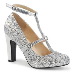 PLEASER PINK LABEL QUEEN-01 SILVER MET FAUX LEATHER-GLITTER ROUND TOE PUMPS