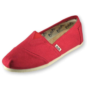CLASSIC RED CANVAS SLIP ON SHOES FOR WOMEN