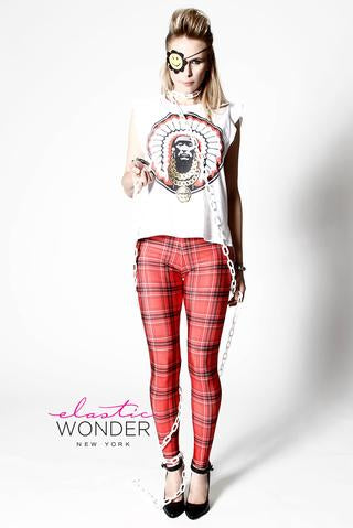 IN STOCK ENGLISH PLAID PRINT SPANDEX LEGGINGS RED